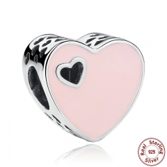 925 Sterling Silver HEART SILVER CHARM WITH PINK ENAMEL Charms Fit Bracelets & Bangles Silver Jewelry PAS269