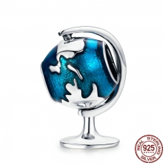Authentic 925 Sterling Silver Tellurion Blue Enamel Charm Beads fit Women Charm Bracelet & Necklaces Jewelry Gift SCC658