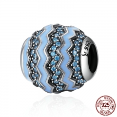 100% 925 Sterling Silver Dazzling Glaciers Clear CZ & Enamel Beads fit Women Charm Bracelets DIY jewelry Making SCC338