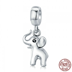 Animal Collection Genuine 925 Sterling Silver Cute Elephant Charm Pendant fit Women Bracelet & Necklaces Jewelry SCC665