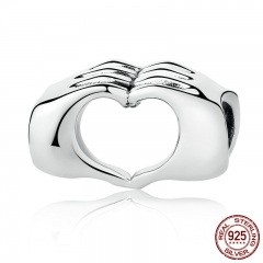 New Collection Genuine 925 Sterling Silver Closed Love Hand Heart Beads fit Bracelets DIY Jewelry Accessories SCC125