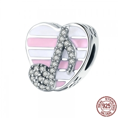 High Quality 100% 925 Sterling Silver Romantic Music Note Heart Beads Fit Charm Bracelet Clear CZ Jewelry Gift SCC451