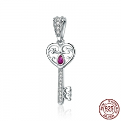 100% 925 Sterling Silver Happiness Key Heart Shape Pendant Charm fit Women Bracelets & Necklaces Jewelry Gift SCC791