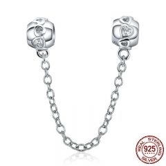 Genuine 100% 925 Sterling Silver Romantic Heart Safety Chain Charm fit Women Charm Bracelets DIY Jewelry Making SCC736