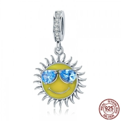 100% 925 Sterling Silver Cool Summer Sun Yellow Color Enamel Pendant Charms fit Women Bracelets jewelry Making SCC771