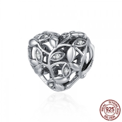Romantic New 100% 925 Sterling Silver Tree of Leaves Heart Charm Beads fit Bracelet Jewelry Valentine Day Gift SCC489