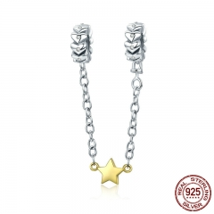100% 925 Sterling Silver Stackable Heart Chain Star Dangle Safety Chain Charm fit Charm Bracelet DIY Jewelry SCC603