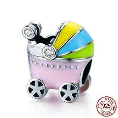 100% 925 Sterling Silver Little Baby Car Baby Carriage Color Enamel Charm Beads fit Girl Charm Bracelet Jewelry SCC505