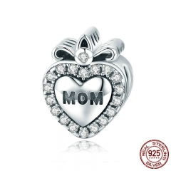 100% 925 Sterling Silver Mother Gift for Mom Heart CZ Charm Beads fit Women Bracelet & Necklaces DIY Jewelry SCC803
