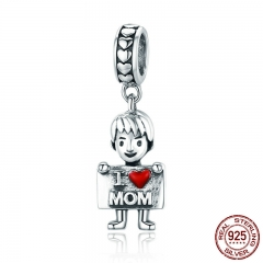 100% Authentic 925 Sterling Silver I Love Dad Lovely Boy Charm Pendant fit Charm Bracelet & Necklaces Jewelry SCC691