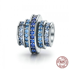 Genuine 925 Sterling Silver Gradual Change Round Wheel Blue Melody Clear CZ Crystal Charms fit Bracelets Jewelry SCC129