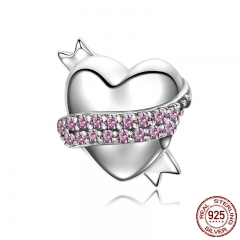 Trendy 925 Sterling Silver Ribbon Hug Gentle Heart Shape Charm & Clear CZ Charm fit Bracelet Jewelry Accessories SCC130
