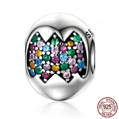 Genuine 925 Sterling Silver Colourful Easter Egg Sparkling CZ Beads fit Charm Bracelets for Women Jewelry Gift SCC256