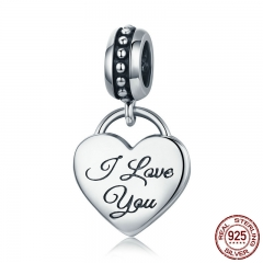 100% 925 Sterling Silver I Love You Engrave Heart Pendant Charm fit Charm Bracelet Jewelry Valentine Mom Gift SCC539
