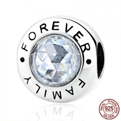 Classic 925 Sterling Silver Family Forever, Clear CZ Bead Fit Charm Bracelets Fashion Jewelry PAS378