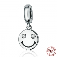 New Collection 925 Sterling Silver Smile Face Letter Pave Dangle Charms fit Women Charm Bracelets Jewelry Gift SCC258