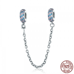 Real 100% 925 Sterling Silver Pink and Blue CZ Round Safety Chain Charm Fit Charm Bracelet DIY Jewelry Making SCC379
