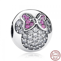 925 Sterling Silver Sweet Cute Lovely Minnie Pave Clip Charm Fit Bracelet & Necklace Jewelry Accessories PAS191