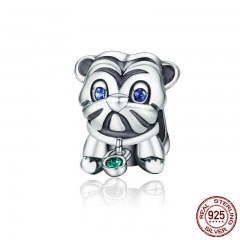 Authentic 925 Sterling Silver Cute Puppy Animal Pug Doggy Beads fit Original Charm Bracelet DIY Jewelry Gift SCC198