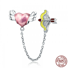 100% 925 Sterling Silver Romantic Heart Cupid Arrow Charm Pendant fit Charm Bracelet Bangles DIY Jewelry Making SCC628
