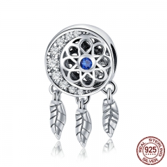 100% 925 Sterling Silver Moon Shape Dream Catcher Trendy Charm Beads fit Charm Bracelets & Necklaces DIY Jewelry SCC718