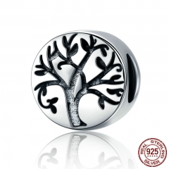 Hot Sale Real 100% 925 Sterling Silver Classic Tree of Life Beads fit Charm Bracelets & Bangles Jewelry Making SCC430