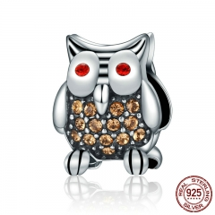 Authentic 925 Sterling Silver Dazzling Yellow Clear CZ Animal Owl Beads Fit Bracelets Fine Jewelry Gift S925 SCC199