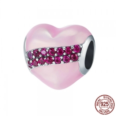 Romantic New Genuine 925 Sterling Silver Heart Pink Enamel Clear CZ Charm Fit Charm Bracelet DIY Jewelry Gift SCC408
