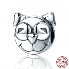 100% 925 Sterling Silver Cute Little Smile Dog Doggy Animal Face Charm Beads fit Women Charm Bracelet DIY Jewelry SCC195