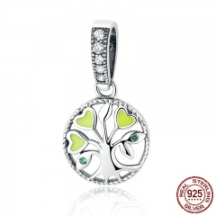 100% 925 Sterling Silver Green Heart Tree of Life Pendant Charms fit Bracelets Women Beads & Jewelry Making SCC116