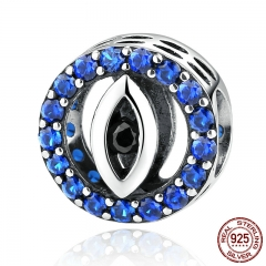Fashion Jewelry 925 Sterling Silver Blue Eyes Zirconia Bead Charms Fit Women Bracelets & Bangles Jewelry SCC091