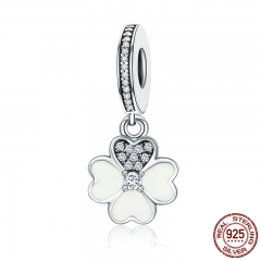 Genuine 925 Sterling Silver Heart Petals Clover Dangle Charm fit Original Charm Bracelets for Women DIY Jewelry SCC259