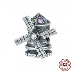 Genuine 925 Sterling Silver Windmill Childhood Memory Clear CZ Charms fit Women Bracelets & Bangles DIY jewelry SCC311