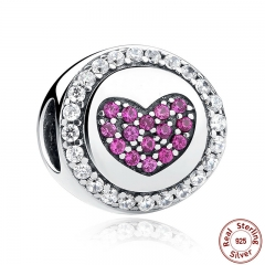 Authentic 925 Sterling Silver Pink Heart Charms fit Bracelets Necklaces Mother Gift SCC014
