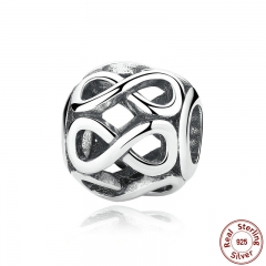 Authentic 925 Sterling Silver Knot Infinity SHINE CHARM Fit Bracelet Necklace for Women Beads & Jewelry Making PAS305