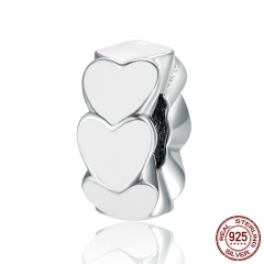 100% 925 Sterling Silver 2 Color Romantic Stackable Heart Spacer Beads fit Charm Bracelet Jewelry Girlfriend Gift SCC288