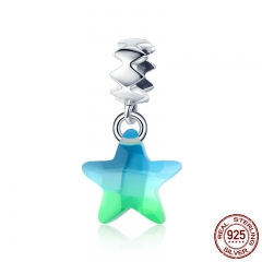 100% 925 Sterling Silver Sparkling Star Transparent Crystal Charms Pendant fit Bracelet Necklaces DIY Jewelry SCC883