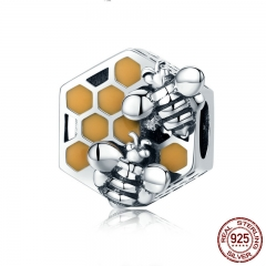 New Collection 925 Sterling Silver Honeycomb Honey Bee Square Charm Beads fit Women Bracelet DIY Jewelry Making SCC500