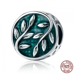 Fashion 925 Sterling Silver Green Tree Leaves Enamel Round Beads fit Charm Bracelets Necklaces Jewelry Making SCC756