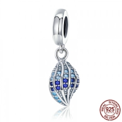 100% 925 Sterling Silver Song of Conch Blue CZ Crystal Charm Pendant fit Women Charm Bracelet DIY Jewelry Making SCC707