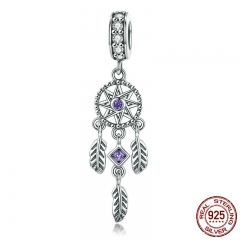 Hot Sale 100% 925 Sterling Silver Pendant Dream Catcher Charm fit Women Charm Bracelets & Necklaces Jewelry Gift SCC841