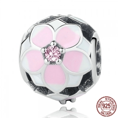 925 Sterling Silver Magnolia Bloom, Pale Cerise Enamel & Pink CZ Beads fit Bracelets DIY Jewelry PSC078
