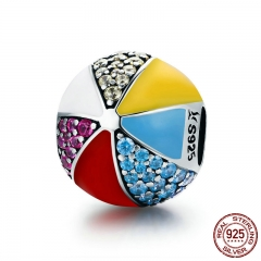 Authentic 100% 925 Sterling Silver Circus Colorful Ball Enamel CZ Charm Beads fit Charm Bracelet Necklaces Jewelry SCC662