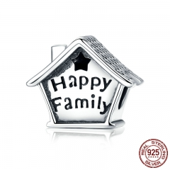 100% 925 Sterling Silver Happy Family House Clock Shape Charm Beads fit Charm Bracelets Necklaces DIY Jewelry SCC758