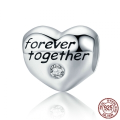 Romantic Authentic 925 Sterling Silver Love Heart Forever Together Engrave Beads fit Women Bracelets Jewelry SCC300
