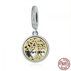 925 Sterling Silver Family Roots Trees & Engraved Family Forever Charms fit Bracelet Jewelry Accessories Making PSC060