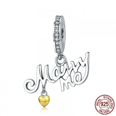 Romantic New 925 Sterling Silver Marry Me Letter Dangle Heart Charm Pendant fit Bracelet & Necklace Jewelry Gift SCC643