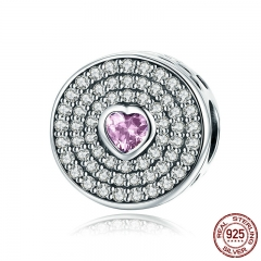 Popular 925 Sterling Silver Dazzling CZ Pink Heart Crystal Pave Charm Beads fit Charm Bracelet Bangles Jewelry SCC815
