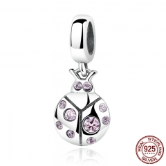 Original 925 Sterling Silver Beetle Beads & Charms with Pink Crystals fit DIY Bracelets S925 Fine Jewelry SCC023