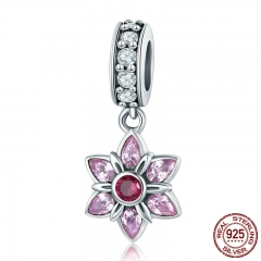 100% 925 Sterling Silver Pendant Pink Crystal Spring Flower Pink CZ Charm fit Charm Bracelet & Necklace Jewelry SCC840